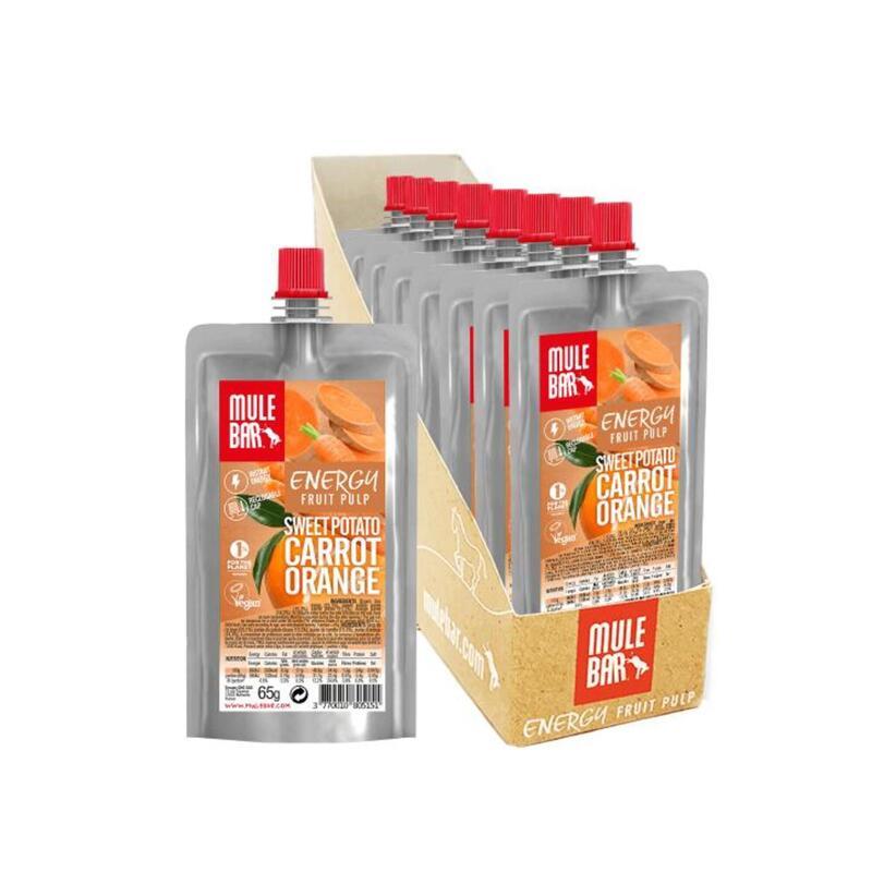 Boite de 10 Pulpes de fruits vegan 65g : Patate douce - Carotte - Orange