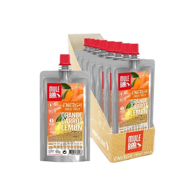 Boite de 10 Pulpes de fruits - Bio & Véganes - 65g - Orange / Carotte / Citron