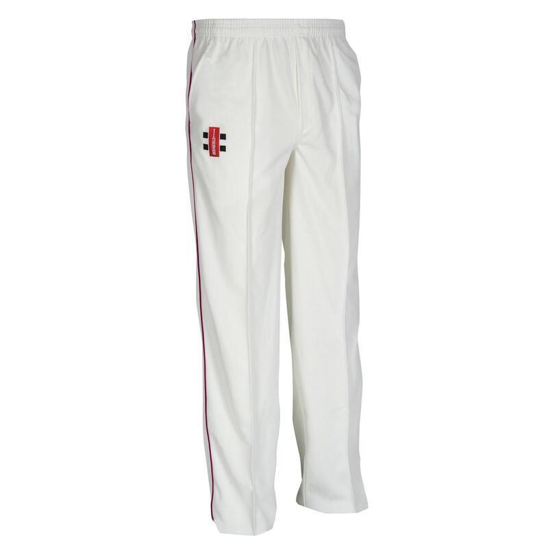 Children/Kids Matrix Cricket Trousers (Pack of 2) (Ivory/ Maroon)