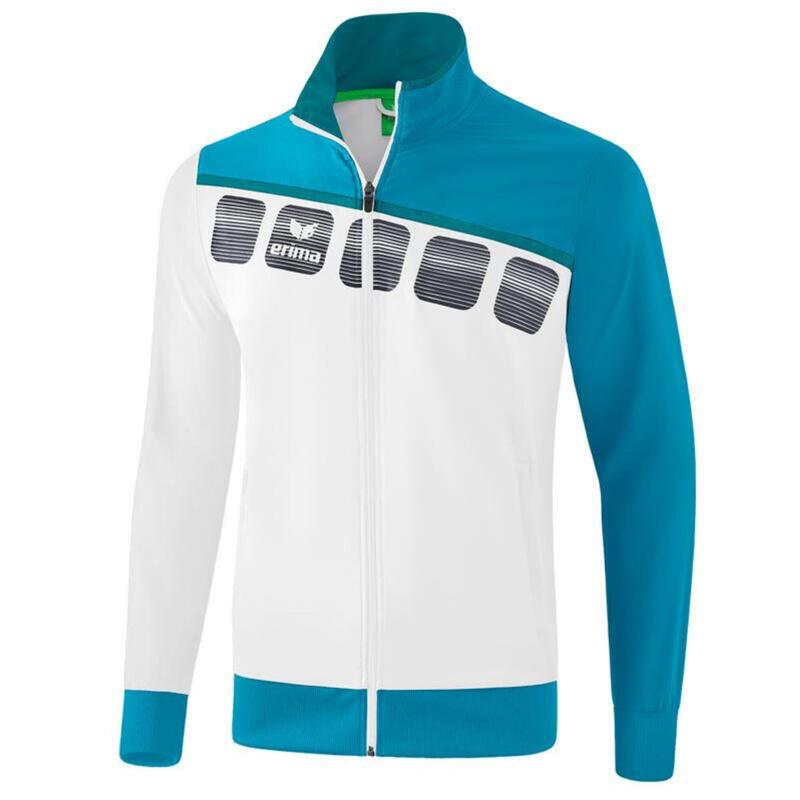Erima veste de présentation 5-C hommes polyester blanc/bleu taille M