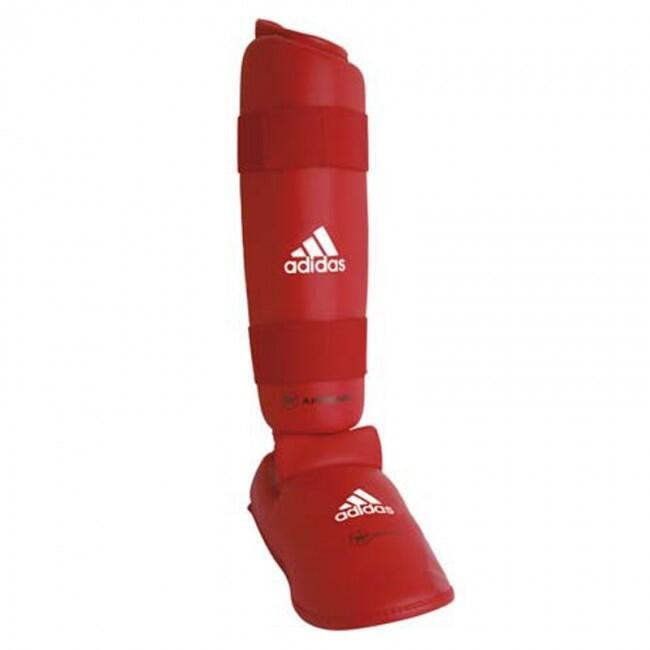 Protège tibia-pied amovible Karate rouge / bleu ADIDAS