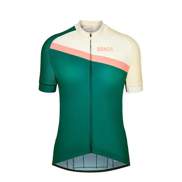 Jersey #10 - Short Sleeved Womens Cycling Jersey - Green/Cream - Large
