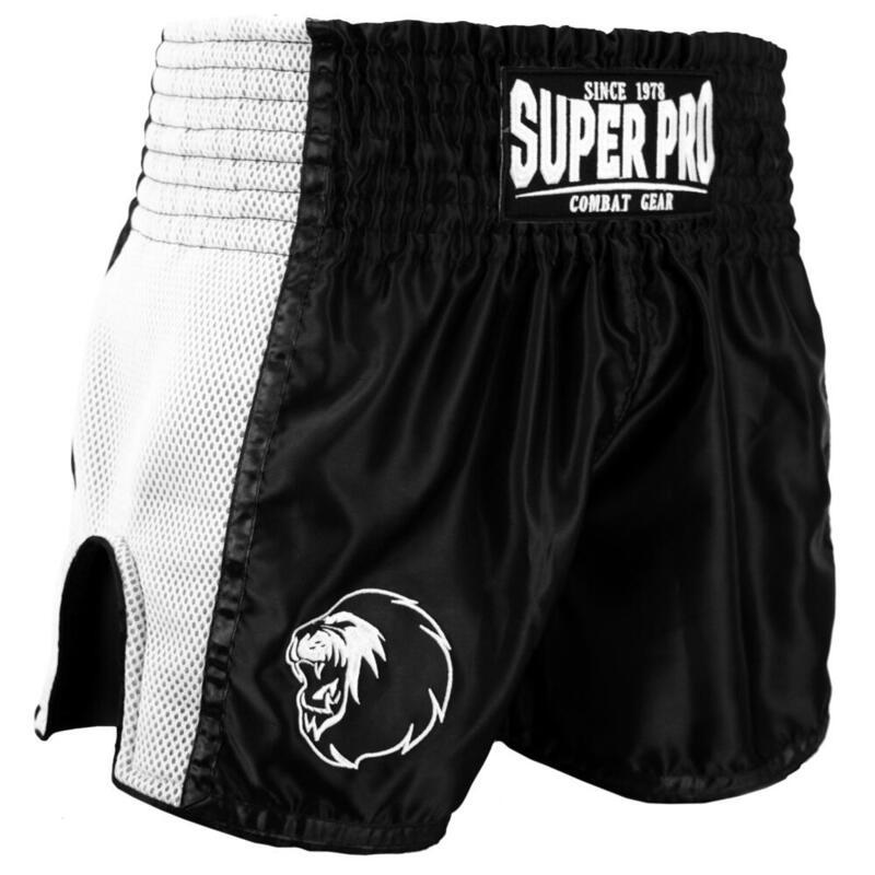 Super Pro Combat Gear Thai en Kickboksshort Brave Zwart/Wit Extra Small