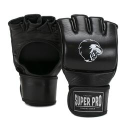 Super Pro Combat Gear Slugger MMA Handschoenen Leder Zwart/Wit Large