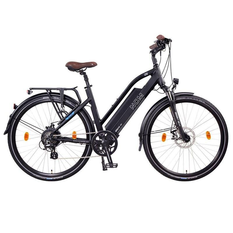 """Vélo électrique Trekking NCM Milano Noir - 28"""", 250W, 48V, batterie 48V 13Ah"""
