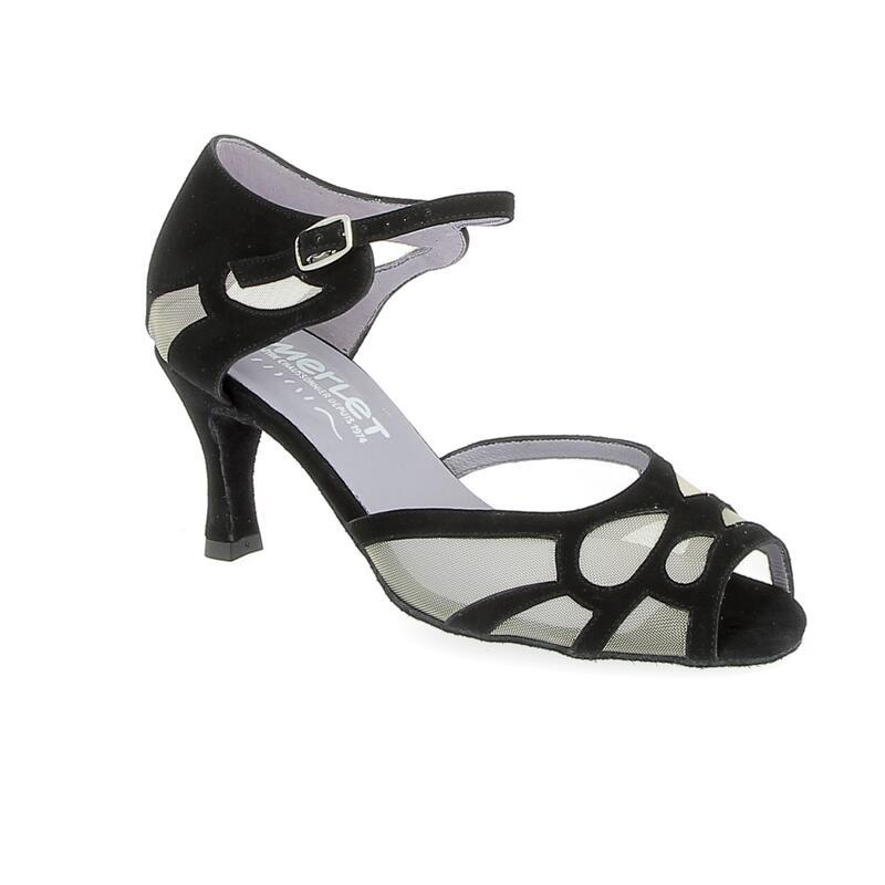 SAMUEL - zapato de salón de punta abierta con inserciones de malla