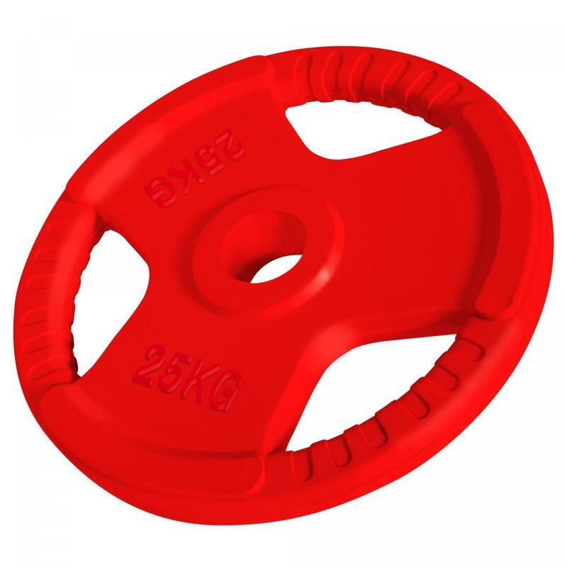Poids disque en fonte avec poignées et revêtement caoutchouc - De 1,25 à 25 KG