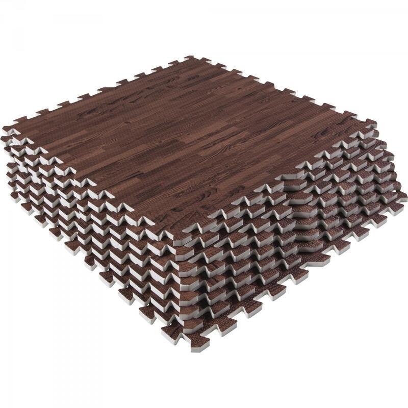 8 dalles carrées de protection - 1,2 cm d'épaisseur - Coloris : Noir, Rouge, Gri