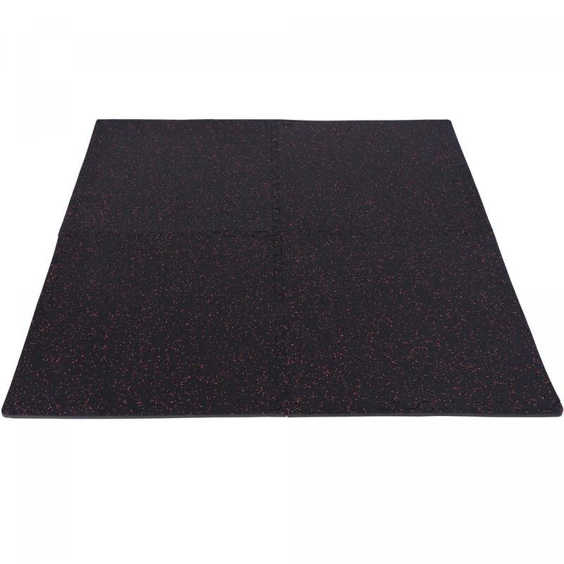Tapis de protection en caoutchouc - 4 dalles + 8 embouts de finition - 1,2 cm d'