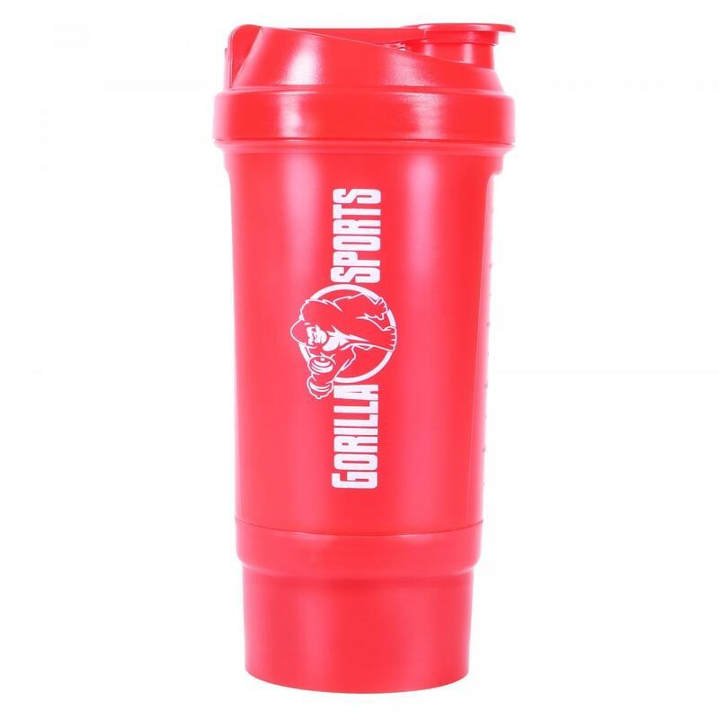 Shaker de 500 ml avec compartiment à poudre - Noir ou rouge