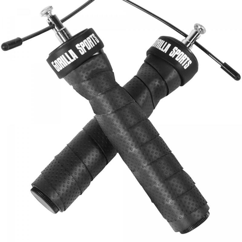 Corde à sauter professionnelle noire/rouge avec sac et poids additionnels inclus