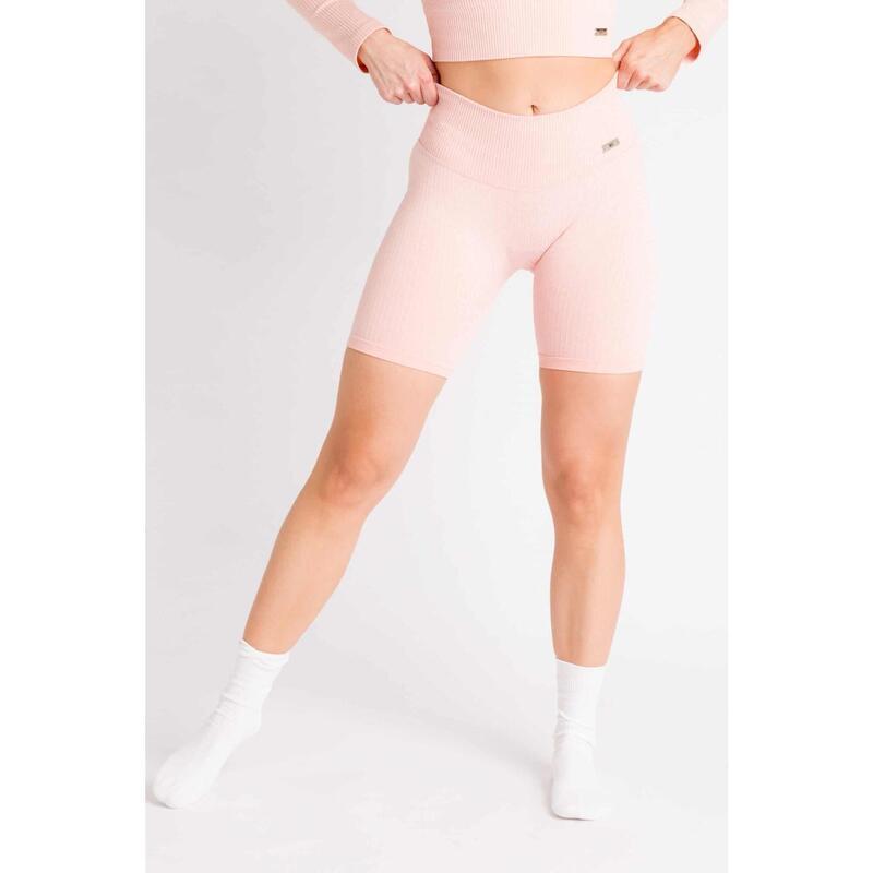 Short Fitness / Cycliste Côtelée Seamless - Femme - Rose