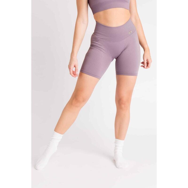 Short Fitness / Cycliste Côtelée Seamless - Femme - Aster Violet