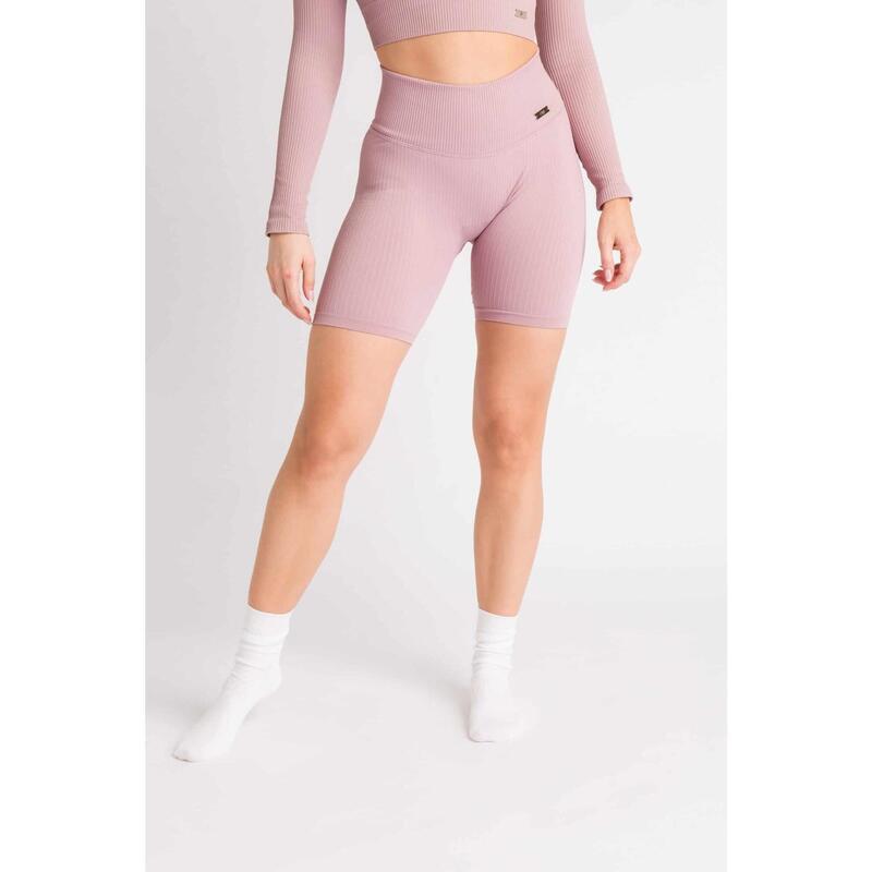 Short Fitness / Cycliste Côtelée Seamless - Femme - Plum Rouge