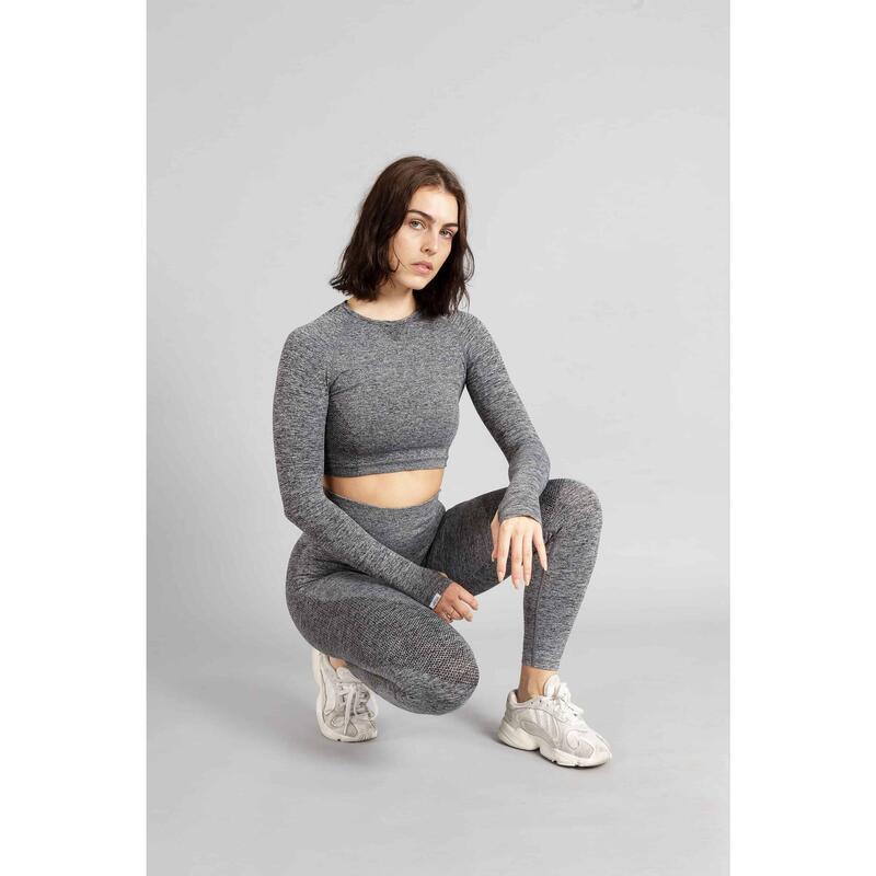 Pulse Seamless Crop Top à Manches Longues Fitness - Femme - Gris