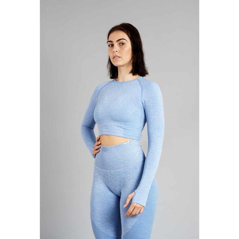 Pulse Seamless Crop Top à Manches Longues Fitness - Femme - Bleu
