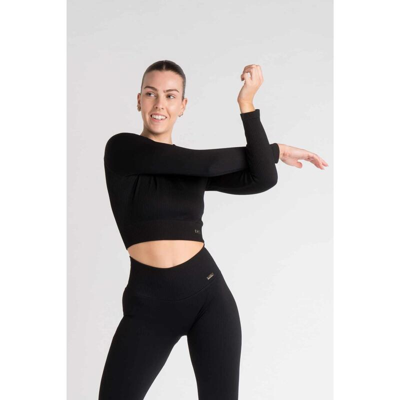 Ribbed Seamless Crop Top à Manches Longues Fitness - Femme - Noir