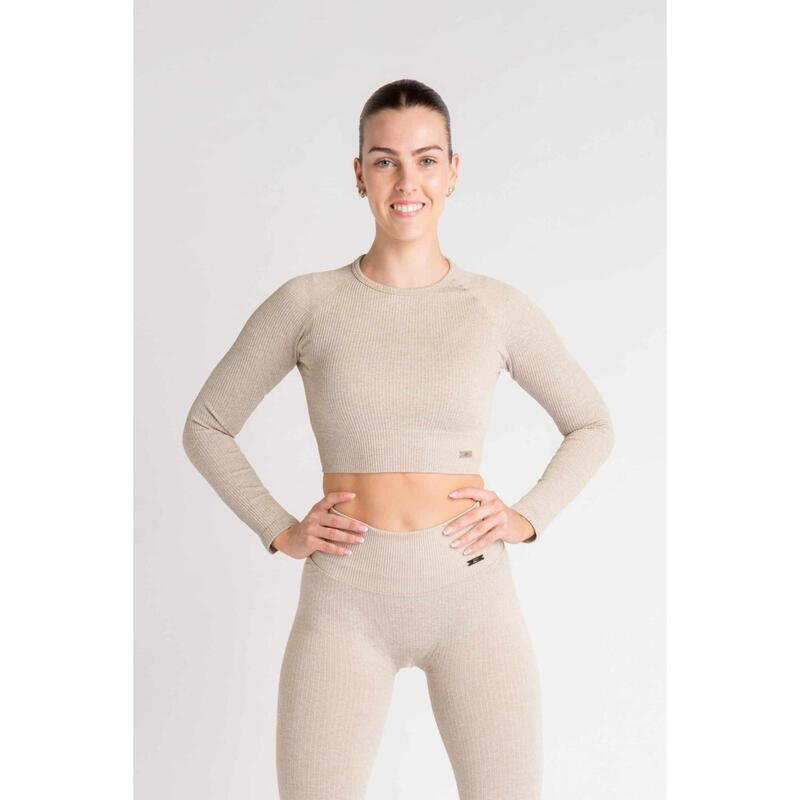 Ribbed Seamless Crop Top à Manches Longues Fitness - Femme - Beige