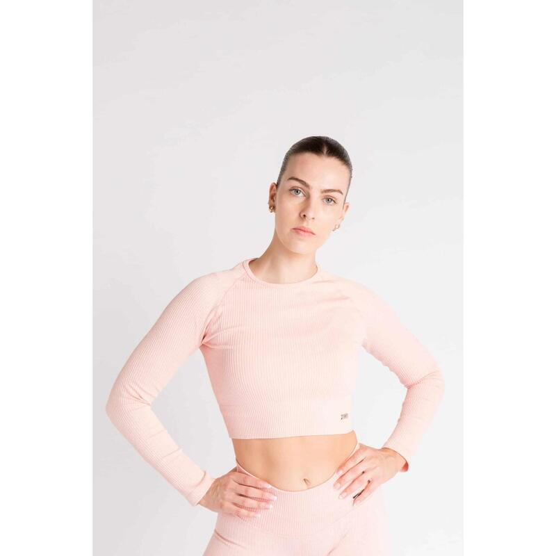 Ribbed Seamless Crop Top à Manches Longues Fitness - Femme - Rose