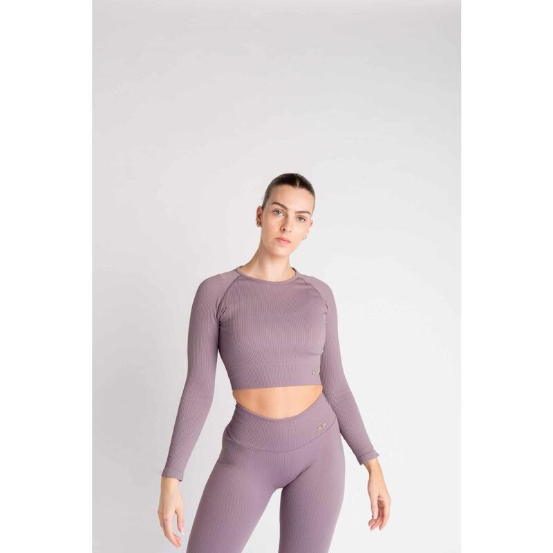 Ribbed Seamless Crop Top à Manches Longues Fitness - Femme - Aster Violet