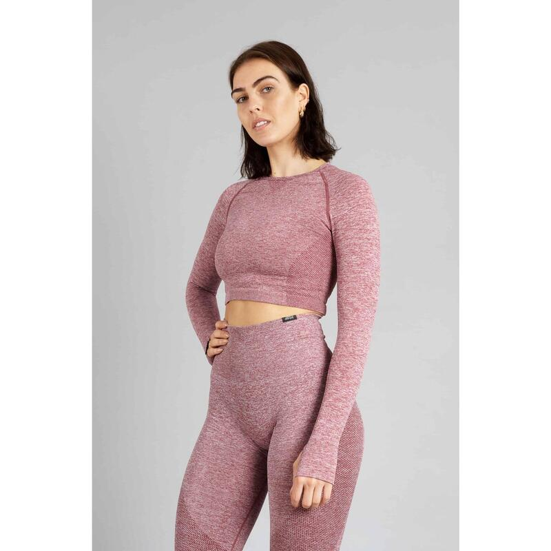 Pulse Seamless Crop Top à Manches Longues Fitness - Femme - Rouge