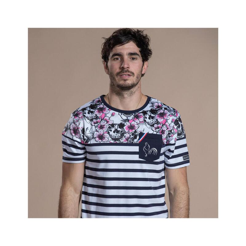 T-shirt manches courtes de rugby homme Marinière Skull Flower