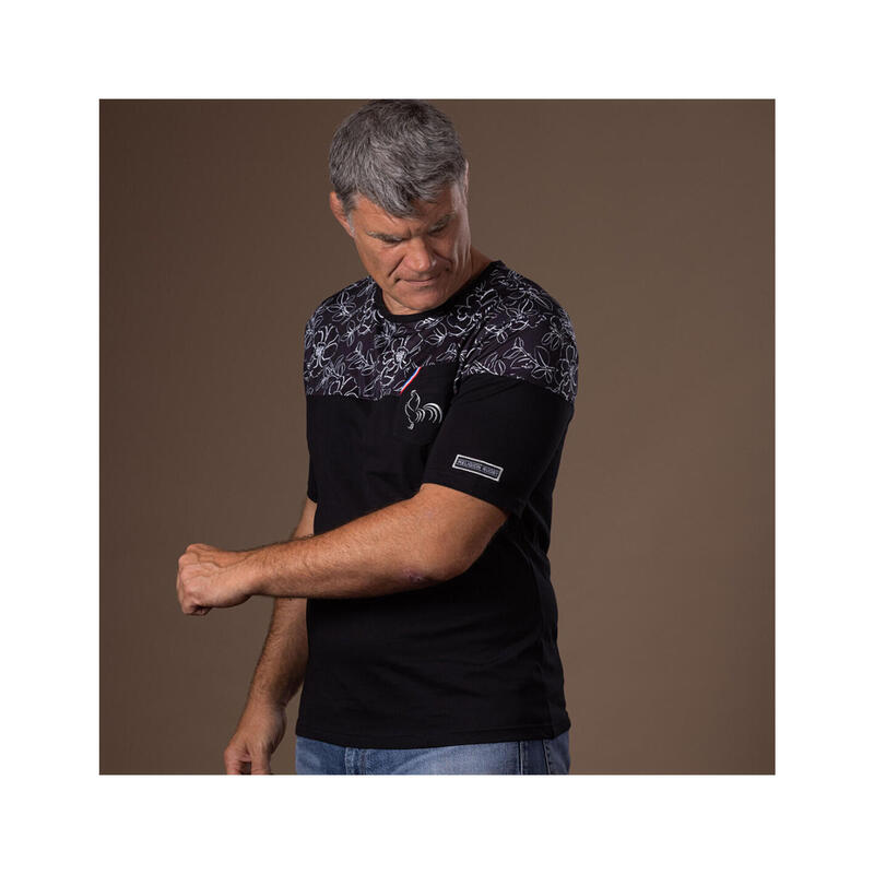 T-shirt manches courtes de rugby homme Black Flower