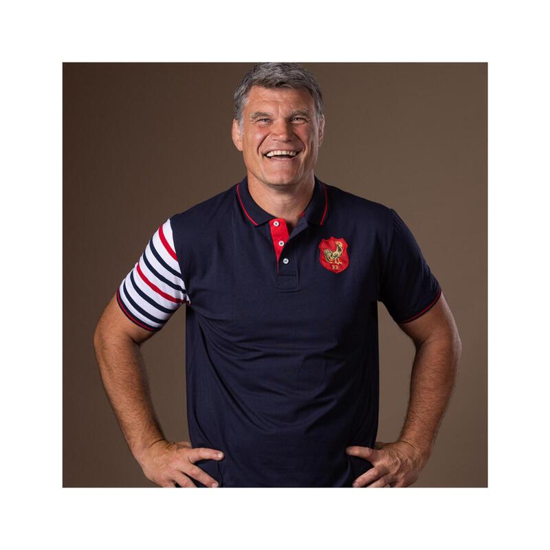 Polo manches courtes de rugby homme Le bras en Marinière Tricolore