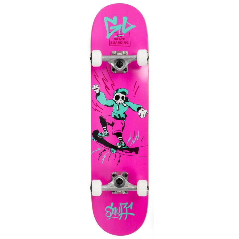 "Skate Enuff Skully 7.25""x29.5"" Rose/Blanc"