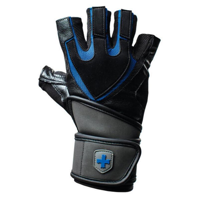 Harbinger Training Wristwrap Gloves - Nero/Blu - M