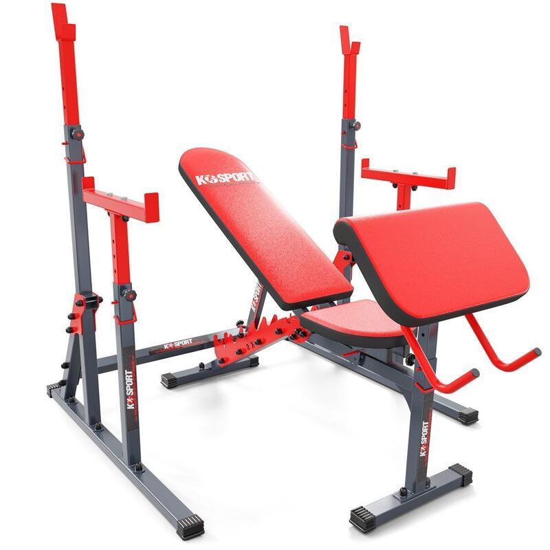 Ensemble de station de musculation avec banc de musculation + support d'haltères