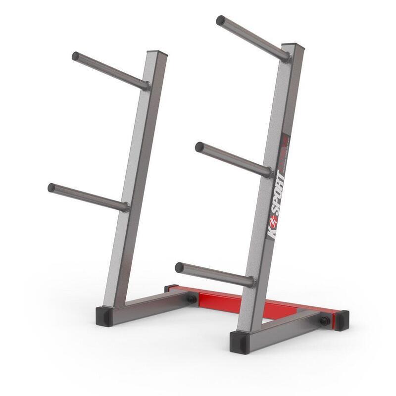 Estantería de placas de pesas con 5 barras