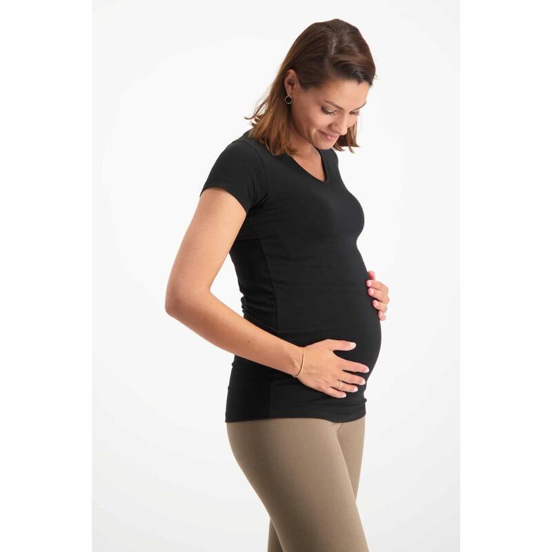 T-shirt de grossesse extralong Happy pour le yoga  - Urban Black