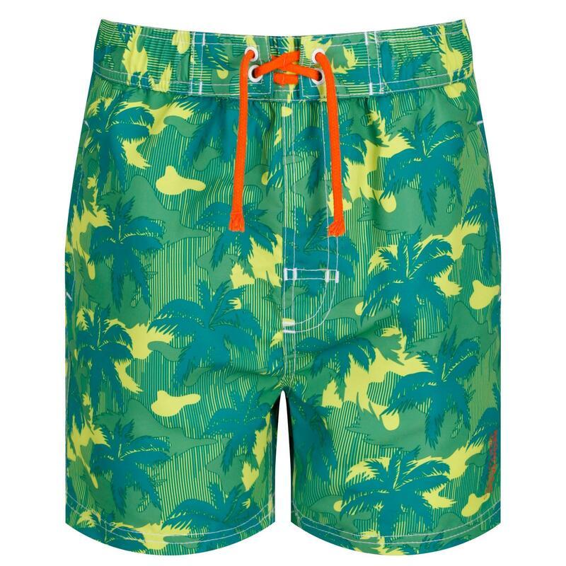 Kids Skander II Quick Drying Swim Shorts (Lime/Camo)