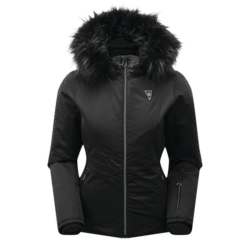 Womens/Ladies Bejewel Swarovski Ski Jacket (Black/Black)