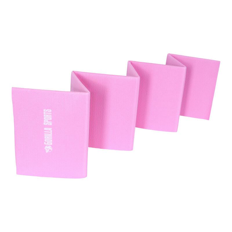 Tapis de yoga pliable, coloris gris ou rose (avec sac de transport)