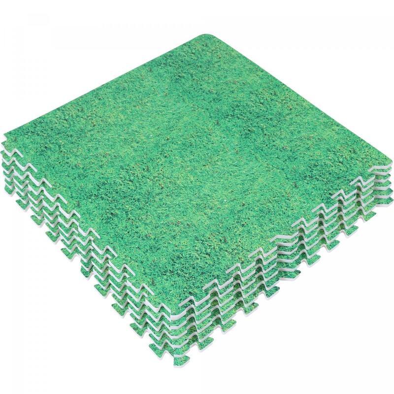 6 dalles carrées de protection + 12 embouts de finition - 1,2 cm d'épaisseur - C