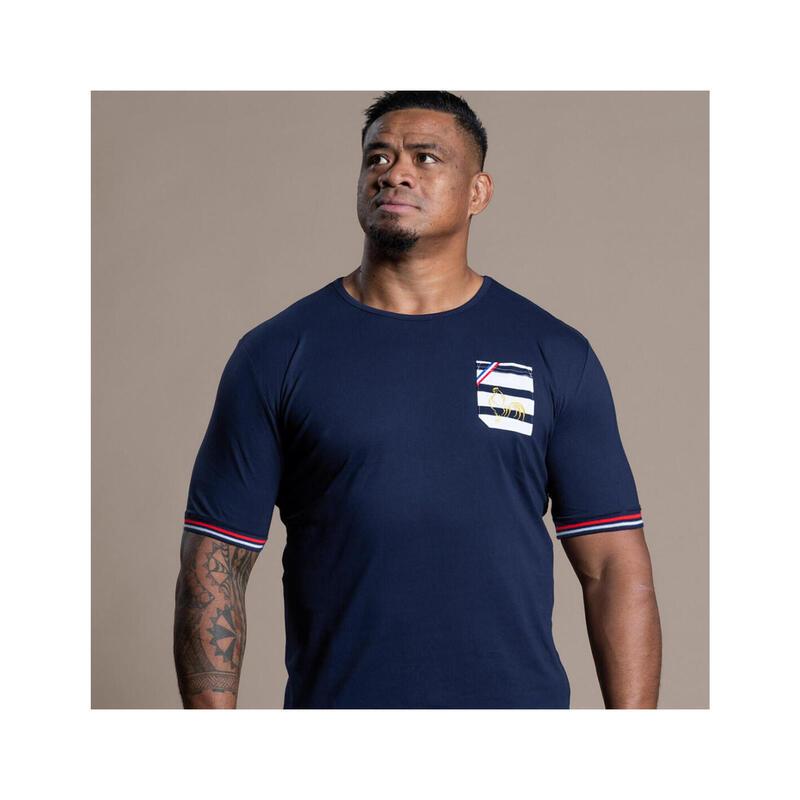 T-shirt manches courtes de rugby homme à poche Marinière