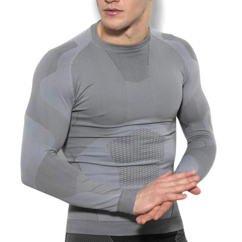 Camisa técnica de manga larga para hombre running transpirable  gris