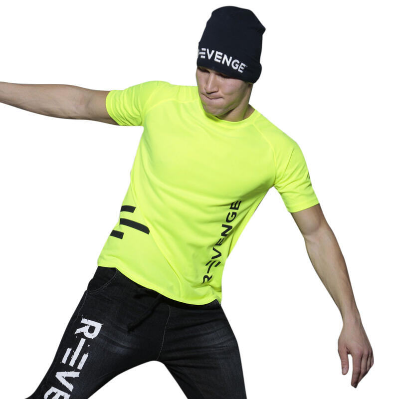 Camiseta de manga corta hombre fitness amarillo fluo