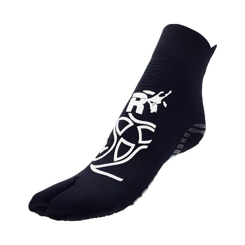 Chaussettes Pilates 1 finger pour adultes fitness antidérapantes noir blanche