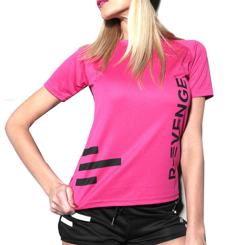 Camiseta de manga corta mujer fitness fucsia