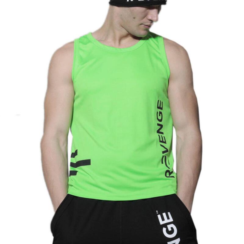Camiseta sin mangas unisex fitness verde fluo