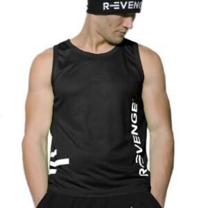 Camiseta sin mangas unisex fitness negra