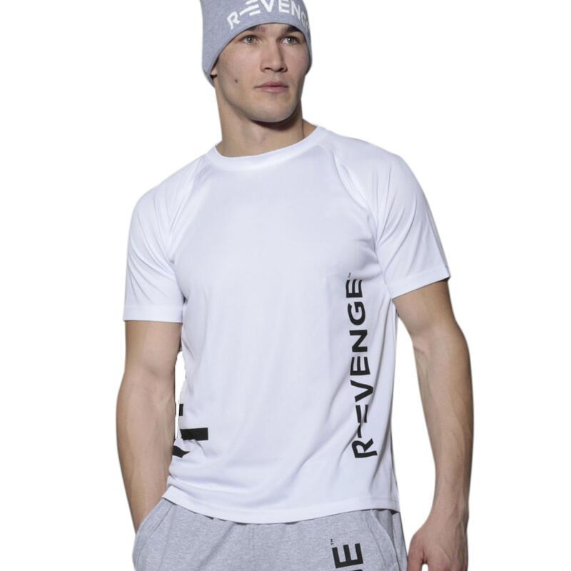 Camiseta de manga corta hombre fitness blanco