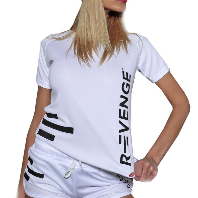 Camiseta de manga corta mujer fitness blanca