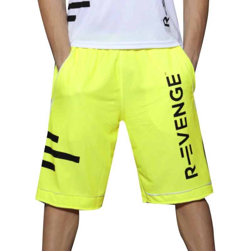 Bermuda short homme fitness jaune fluo