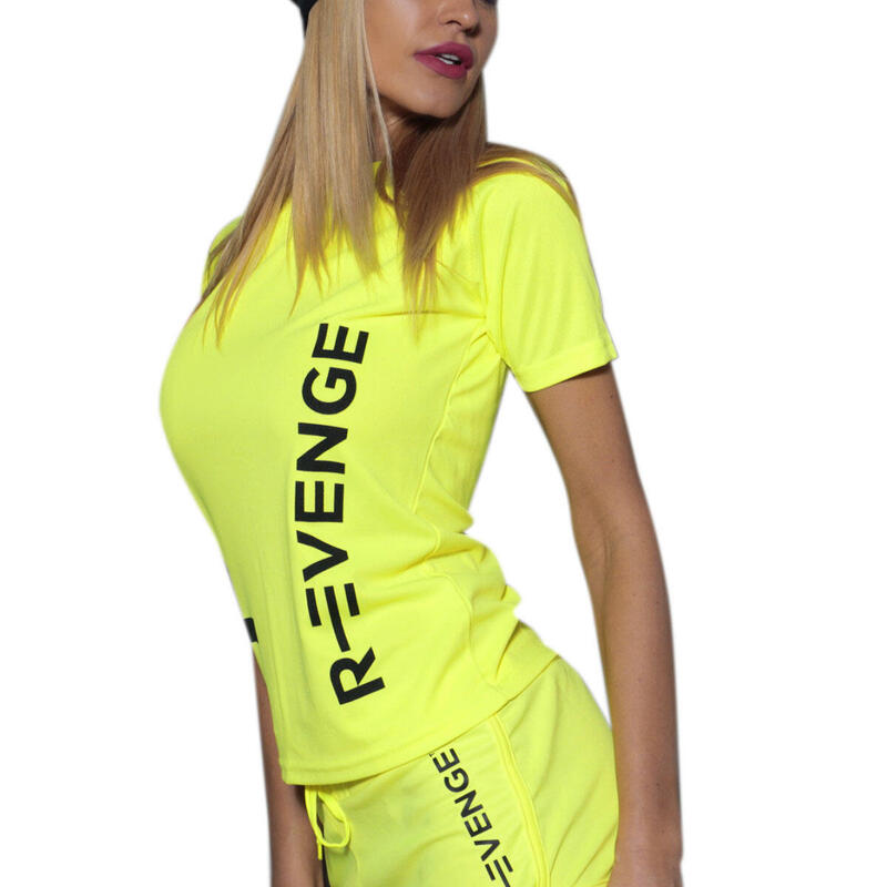 Camiseta de manga corta mujer fitness amarillo fluo