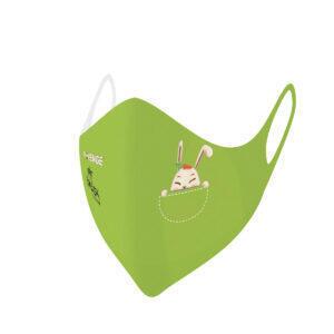 Máscaras de protección lavables covid-19 conejo Baby verde