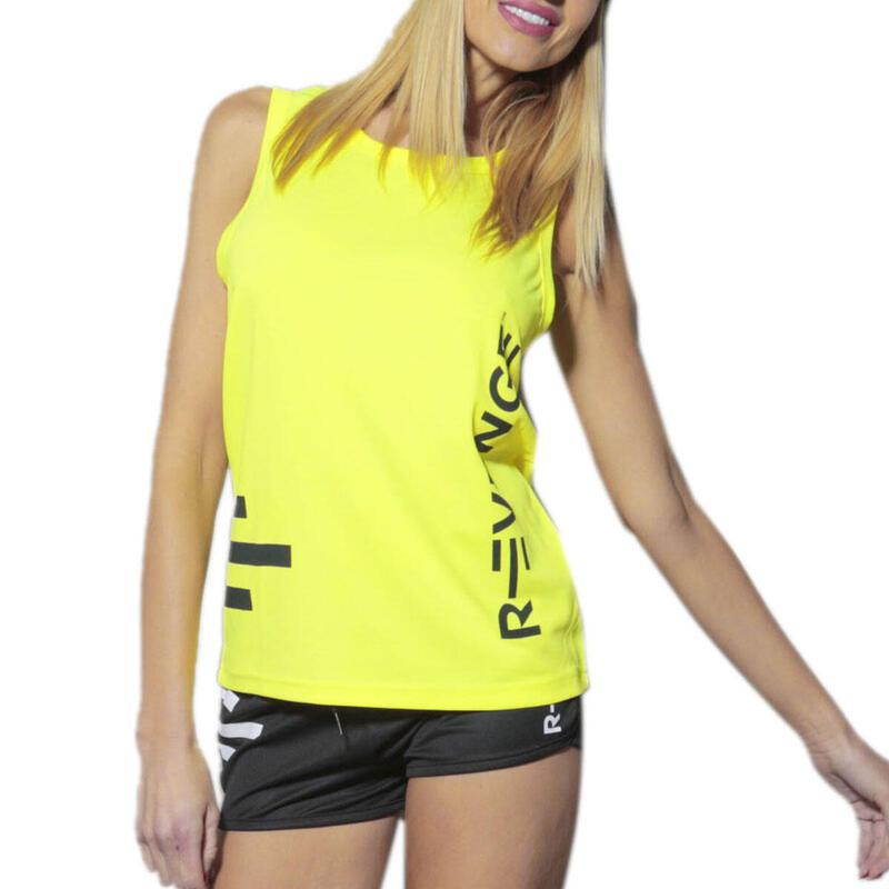 Camiseta sin mangas unisex fitness amarillo fluo